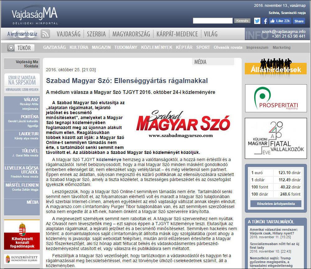 A VajMa volt a legfrissebb: Az első híradás a Szabad Magyar Szó indulásáról