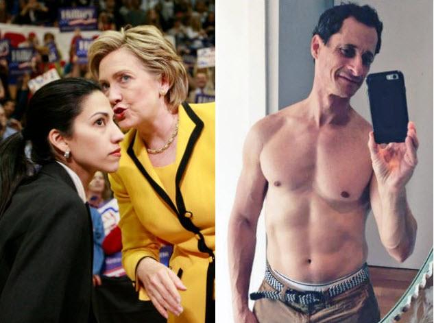 Balról: Huma Abedin és Hillary Clinton. Jobbról: Abedin külön élő férje, Anthony Weiner volt képviselő szextelés közben. (Fotó: Breitbart)