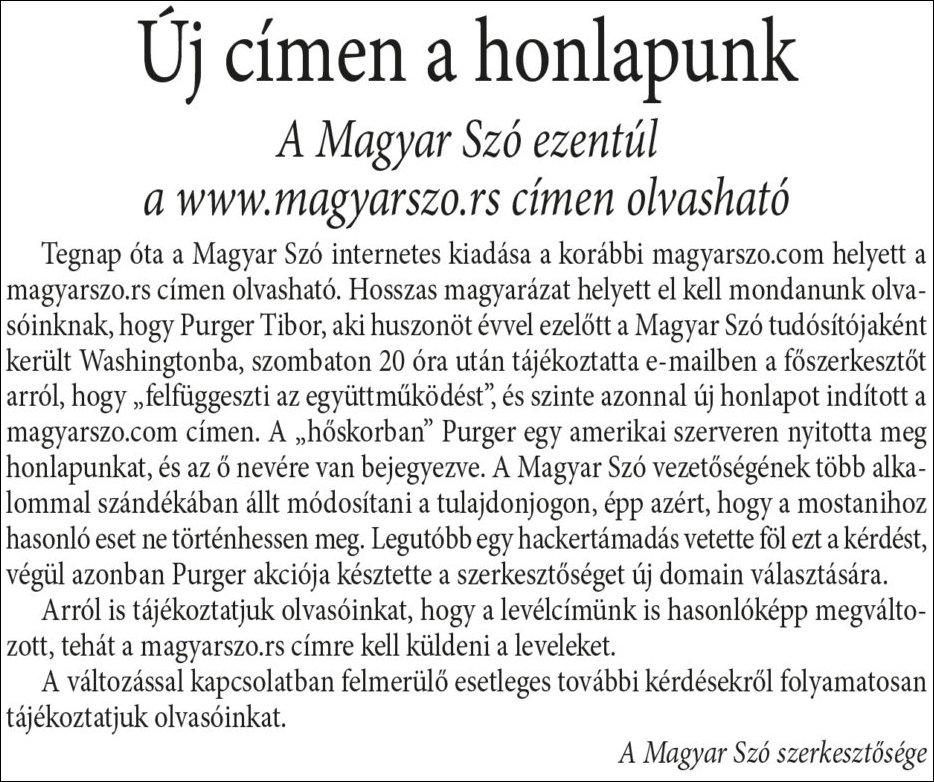 A Magyar Szó közleménye a lap 2016. október 24-i számának nyomtatott címlapján