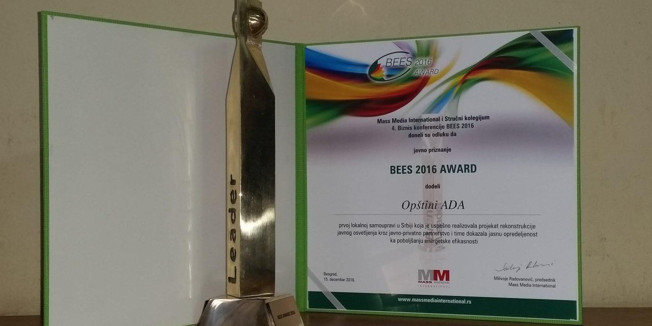 BEES 2016 Award: Ada község is a díjazottak között