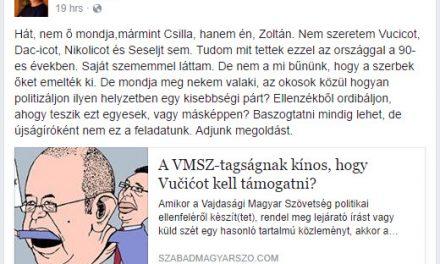 A Magyar Szó főszerkesztőhelyettesének Facebook-bejegyzése, 2017. február 19.