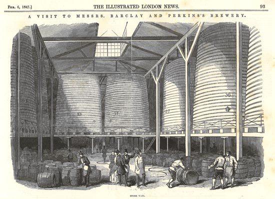 Ilyen óriáshordókból ömlött ki a sörtenger (Grafika: The Illustrated London News)