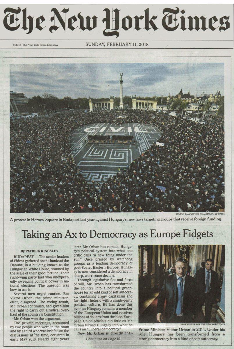 A New York Times vasárnapi címoldalának központi része