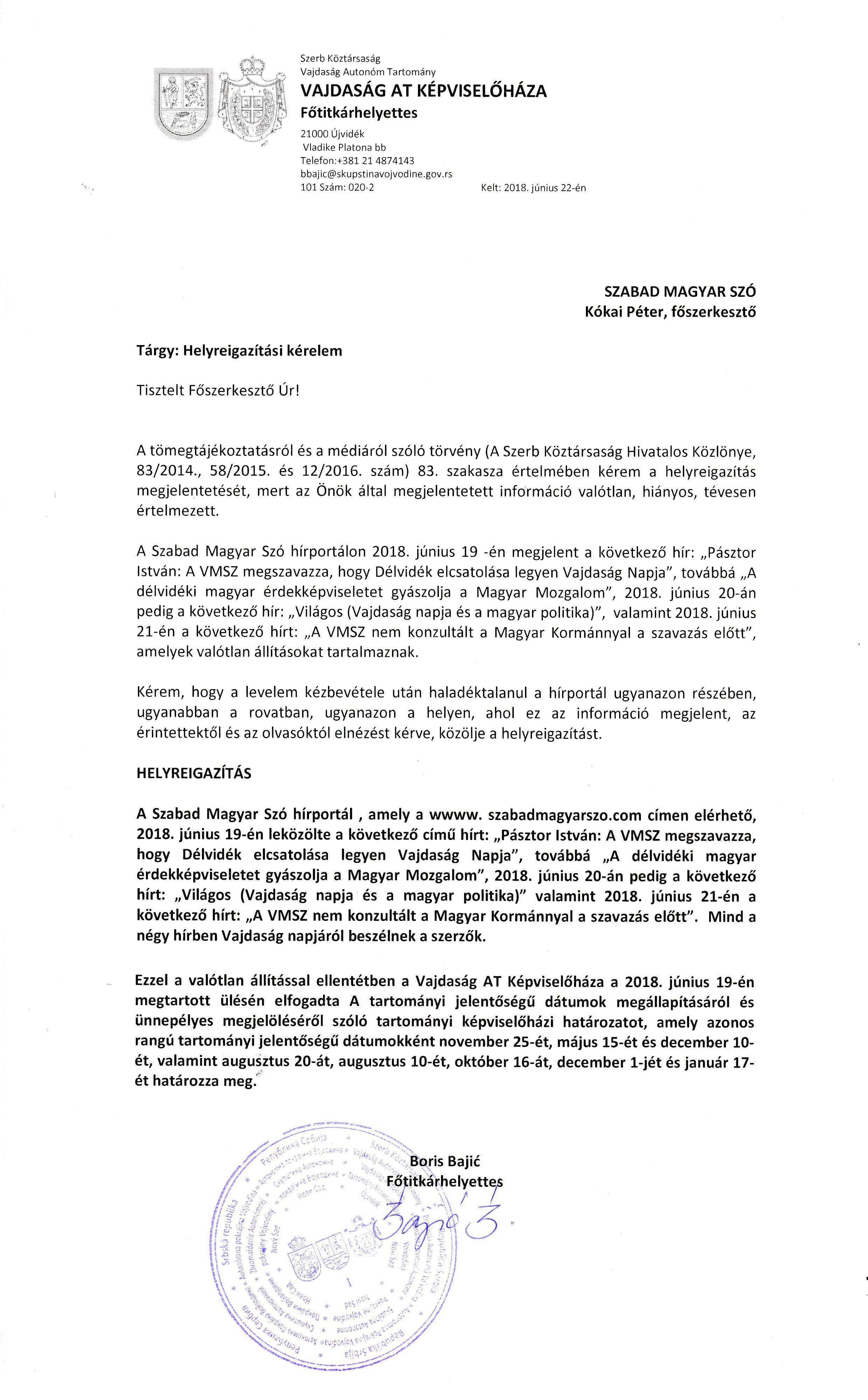 VAT Képviselőháza Főtitkárhelyettesének Helyreigazítási kérelme