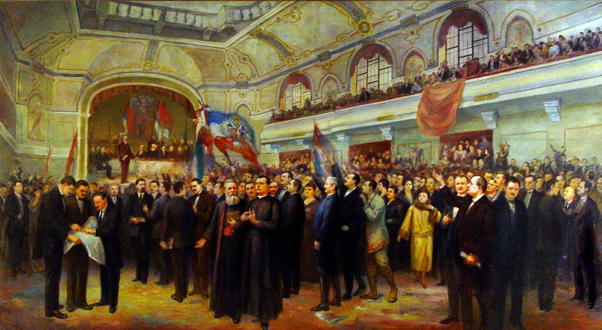 Anastas Bocarić (1864–1944) festménye a Bánsági, Bácskai és Baranyai Szerbek, Bunyevácok és Más Szlávok Nagy Népgyűléséről (Fotó: Wikipédia)