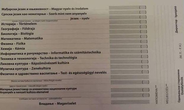 Ötödikes bizonyítványok: Nincs hely magyarul beírni a jegyet
